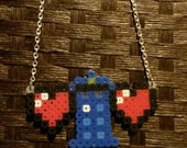 Pixel Heart Necklaces, TARDIS with 2 hearts or 3 hearts bar