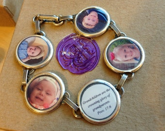 Personalized Photo Bracelet (one) - Jewelry Grade WATERPROOF - 5 Personal Photos -  Family Gift Personalized - Picture Bracelet