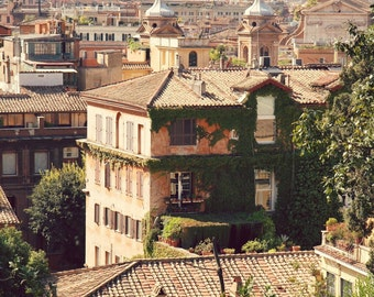 Rome Photography - Italy Photography - Roman Architecture Print - World City Art - Urban Decor - Office Art - Orange Green - Travel Photo