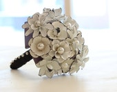 White & Black Brooch Bouquet | Enamel Flower Pearl Bouquet | One Of A Kind Black White Wedding | Custom Made To Order