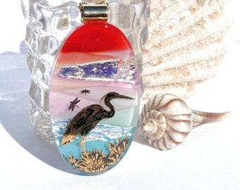 Seaside Heron - LARGE Dichroic Fused Glass Pendant, Fused Glass Jewelry, Oval, Nature, Outdoors, Metallic Gold, Ocean, Beach (Item 10694-P)