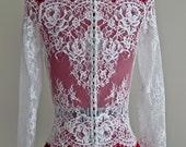 Wedding Lace Bolero, Scalloped Neckline Bolero, Long Sleeve Lace Bolero, Buttoned Bolero, Wedding Shrug