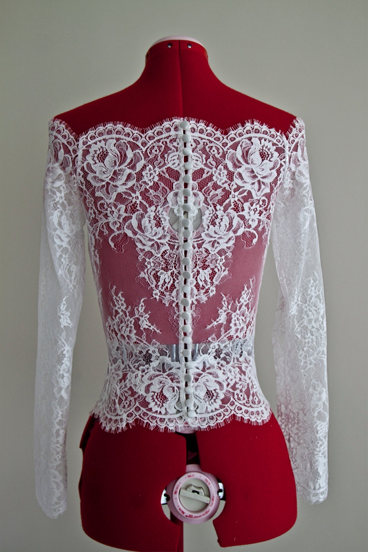 Wedding Lace Bolero Scalloped Neckline Bolero Long Sleeve