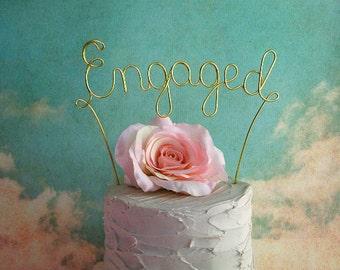 Personalized ENGAGED Wedding Cake Topper - Custom Shabby Chic Wedding Cake Topper,Rustic Wedding Cake Decoration,Engagement Party Decoration