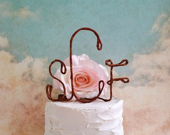 Personalized Rustic Wedding Cake Topper with Your Initials, Monogram Wedding Cake Topper,Shabby Chic Wedding Cake Topper, Rustic Cake Topper