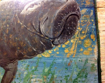 "Manatee Painting 32"" original home decor wall art on reclaimed wood sea cow detailed home centerpiece coastal living beach accent"