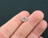 BULK 50 Lotus Charms Antique Silver Tone 2 Sided Water Lily - SC4355