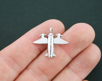 10 Airplane Charms Antique Silver Tone 2 Sided - SC4315