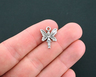 10 Fairy Charms Antique Silver Tone Spread Wings - SC4572