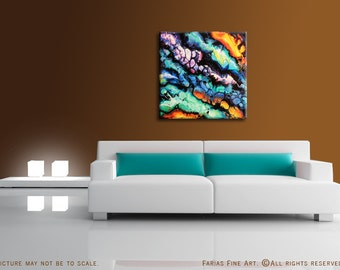 31.5 x 31.5 Abstract Painting MODERN Square Wood Panel ORIGINAL Colorful Chrome Fine Art by Federico Farias