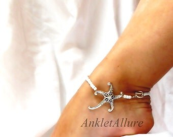 Simple Beach Feet Starfish Anklet Cruise Vacation Ankle Bracelet White Silver Ankle Bracelet