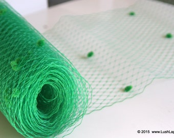 Green Dotted  Veil Netting - Russian or French Net Birdcage Material, Half Yard or 1 Yard
