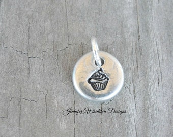 Baker's Gift - Cupcake Charm - Baker's Cupcake Charm - Pewter Charm - Bakery Gift - Handstamped Charm - Foodie Gift