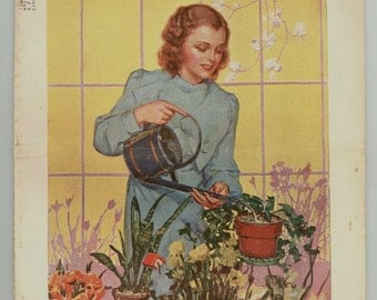 Home Arts Needlecraft Magazine April 1939 Cross Stitching, Fashion, Recipes and More Vintage Periodical, Pretty woman watering flowers