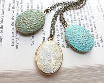Oval Locket Necklace Aqua Blue Patina Pendant Country Chic White Photo Locket Romantic Womens Jewellery Vintage Style Keepsake Gift for Mom