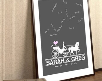 Unique Wedding Wagon Guest Book- Wedding Guest Book To Be Personalized With Guest's Signatures Wedding Guestbook Wedding Poster Wedding Gift