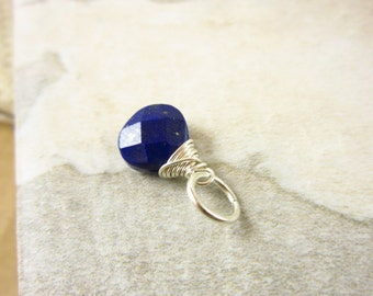Sterling Silver Charms - Sterling Silver Charms - Lapis Pendant Gemstone Jewelry - Dark Blue Lapis Lazuli - Wire Wrapped Jewelry Handmade