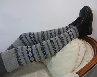 Gray Fair Isle Wool Boot Socks Women's Thigh High Over the Knee Socks Grey Leg Warmers A1284
