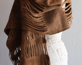 Primal Nature - Handwoven and Felted Sculptural Merino Scarf - Naturally Dyed With Black Walnuts