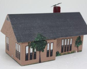 Vintage Christmas Wooden Hand Made Hand Painted House Folk Art OOAK