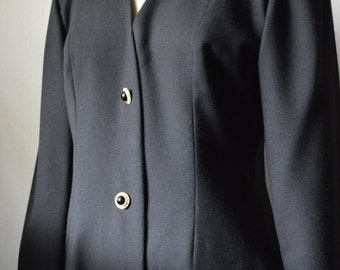 Vintage Christian Dior 1980s Robes Du Soir Wool Crepe Dress with Rhinestone Buttons Large Side Pocket Flaps Size 6