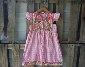 Green &Pink Vintage Floral and Plaid Dress by Cornelloki Size 6