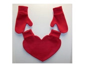 Red Heart Shaped Lovers Mitten and Mitten Set Snuggle Down For Warm Romantic Walks