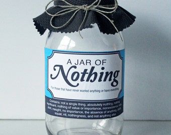 INSTANT DOWNLOAD Jar Of Nothing printable- Great gag gift or perfect for the Holiday, Birthdays, and more