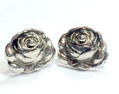 Earrings Rose Flower by Marino Silver Tone