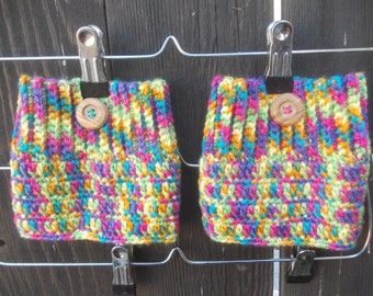 Rainbow Boot Cuffs - Crochet Boot Cuffs - Boot Toppers - Leg Warmers - Knee Warmers - Fall Winter Fashion
