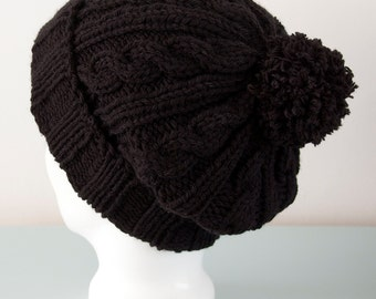 Black Beanie Hat - Knitted Cable Merino Wool Slouchy Pom Pom Hat Winter Accessory Unisex Gift for Him Gift for Her by Emma Dickie Design