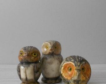 vintage set of stone owl figurine / bird lover / alabaster / marble rock / statue