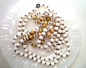Vintage Long Flapper Milk Glass and Art Glass Bead Necklace 60 Inches