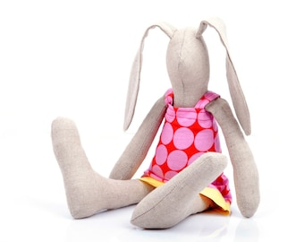 Newborn doll - Plush SMALL rabbit doll , natural linen baby girl bunny in pink red polka-dot dress , timo handmade eco doll