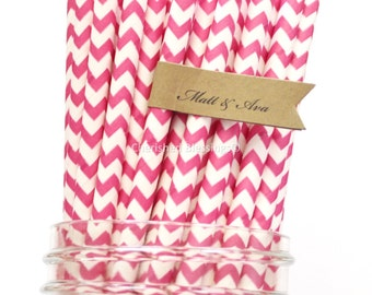 100 Hot Pink Paper Straws, Chevron Striped Paper Straws, Party Supplies, Wedding Table Setting, Paper Goods, USA, Baby Shower,  Rustic