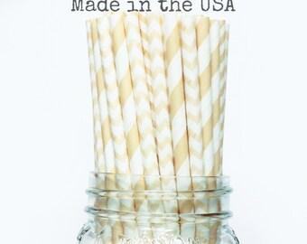 Ivory paper straws, Cream Straws, Beige Straws, Vintage Wedding Table Setting, Rustis Baby Shower, Straws Kids Birthday Party Supplies, USA