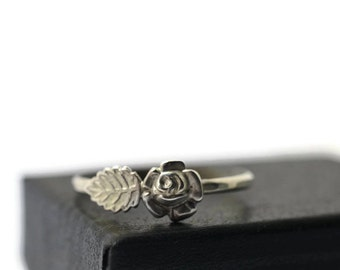 Rose and Leaf Ring, Rose Bush Jewelry, Flower Jewelry, Sterling Silver Ring