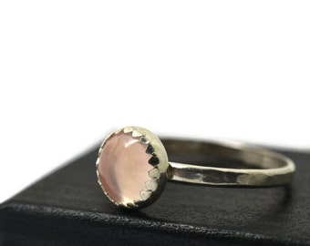 Natural Pink Gemstone Ring, Rose Quartz Ring, Sterling Silver Ring, Hammered Ring, Simple Gemstone Ring