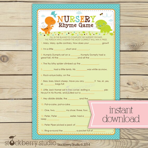 Dinosaur Baby Shower Nursery Rhyme Quiz Boy Baby Shower Games