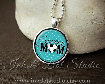 Teal Soccer Mom Necklace, Soccer Mom Pendant, Gift For Soccer Mom, Teal Polka Dot or Choose Color