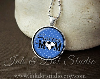 Blue Soccer Mom Necklace, Soccer Mom Pendant, Gift For Soccer Mom, Blue Polka Dot or Choose Color