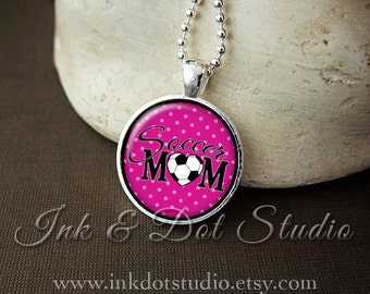 Pink Soccer Mom Necklace, Soccer Mom Pendant, Gift For Soccer Mom, Pink Polka Dot or Choose Color