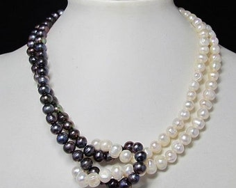 Necklace 17 inch IN Purple White Pearls and 925 Silver