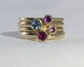 4 Gold Rings, 14K solid yellow gold set of 4, narrow set,  3mm and 4mm gemstone, Mother's Gold Ring Set, gold Family Ring, Custom made