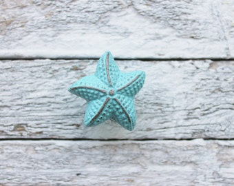 Nautical Beach Decor Metal-Blue Starfish-Knobs-Home Decoration-Marine Wall Decor-Light Blue Wedding-Sea Life Decor-Beach House Bathroom
