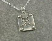 Silver Kanji Necklace- Kanji Jewelry- Fine Silver Kanji Pendant- PMC Fine SIlver Jewelry- Kanji Symbol Jewelry- Faith Prosperity Sister God