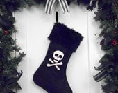 Punk Goth Pirate Christmas Stocking Skull and Crossbones with Black Faux Fur