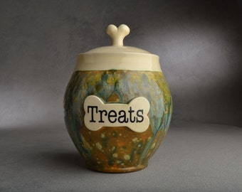 Dog Treat Jar Made To Order Personalized Dog Treat Biscuit Jar by Symmetrical Pottery