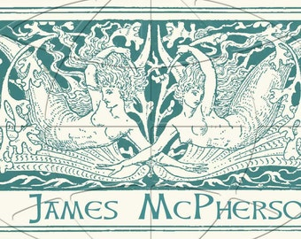 Mermaids007 - TWINS - Vintage - ADHESIVE Backed Personalized Bookplates - Lovely Gift