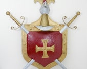 Vintage 3ft Steel Medieval Knight Coat of Arms Shield/Swords/Helmet Wall Decor--FREE SHIPPING